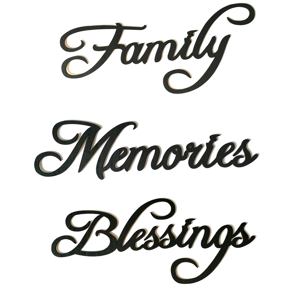 Family Letter Wall Sticker Wall Art Hanging Sign Word Wood