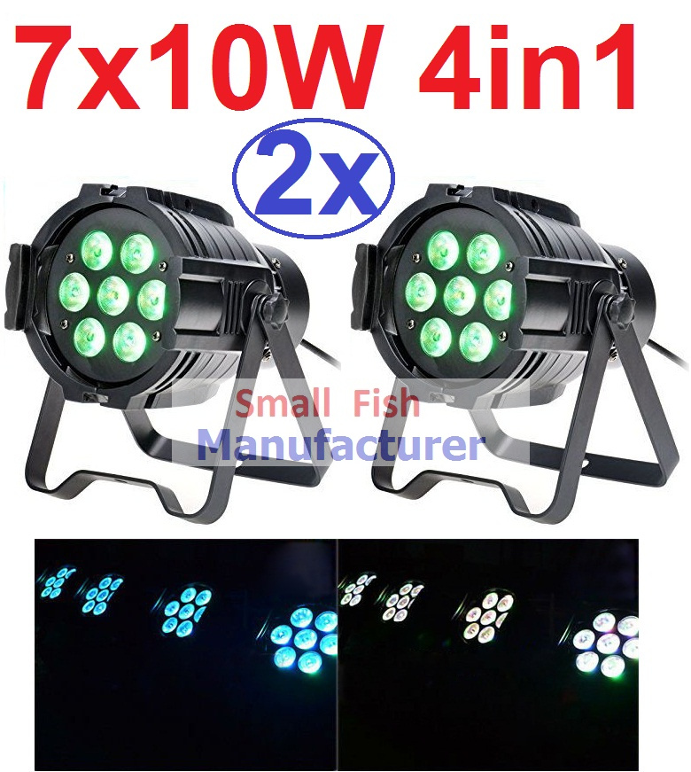 ФОТО 2xLot 2016 Led Par Can 7x10W RGBW 4IN1 Quad Color Mini Par Led DMX DJ Disco Stage Lights 70W Moving Head Strobe Effect Projector