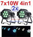 2xLot 2016 Led Par Can 7x10W RGBW 4IN1 Quad Color Mini Par Led DMX DJ Disco Stage Lights 70W Moving Head Strobe Effect Projector