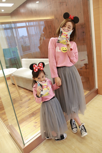 Korea Family Matching Clothes Autumn Smile Face 2016 New Brand Print Cotton Long Sleeve T-shirt Mother Daughter Outfits Mom Son