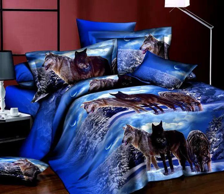 Wolf Bedding Sets Queen Size Animal Print Quilt Duvet
