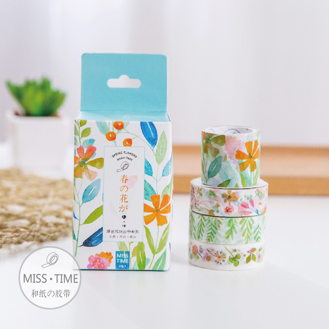 4 pcs/Lot Spring flowers paper washi tape 3+1 pack masking tapes Decorative sticker for diary Stationery School supplies 6327