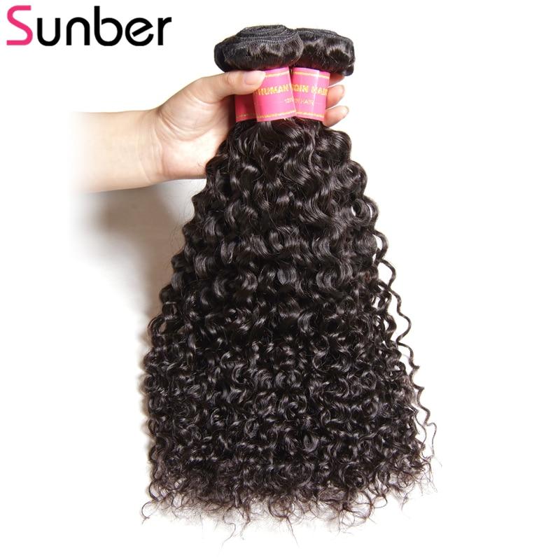 SUNBER HAIR Pelo rizado brasileño 3pcs / lot Remy Hair Weaven - Cabello humano (negro)