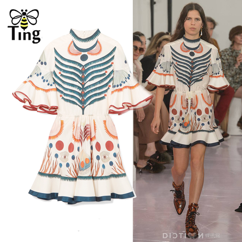 Tingfly Designer Runway Style Ruffles flare sleeve floral print dress Lady summer mini party dresses Mermaid Vestidos Boho