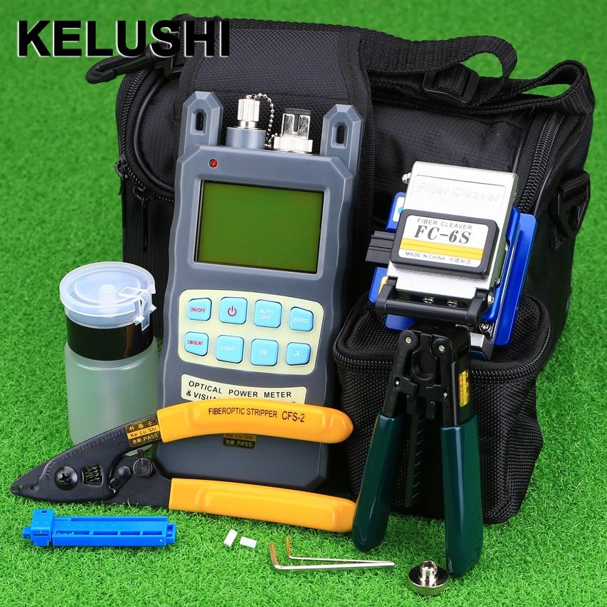 KELUSHI 9 pz/set FTTH Tool Kit con FC-6S In Fibra di Mannaia e Misuratore di Potenza Ottica 10 mw Fibra Ottica Stripper Strumenti