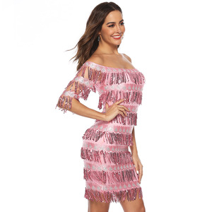Image 2 - Сексуальные розовые короткие коктейльные платья до колен 2019, кружевное платье с блестками и бахромой с рукавом до локтя, официальное вечернее платье, халат, коктейльное платье для выпускного вечера