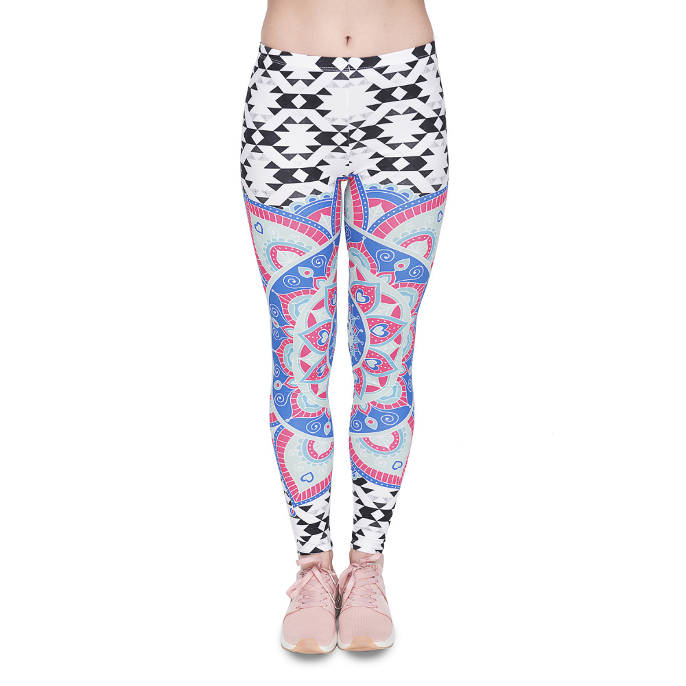 Women Legging Mandala Aztec Printing Fashion Bottoms Slim High Waist Fitness Leggings Stretch Pants For Womens