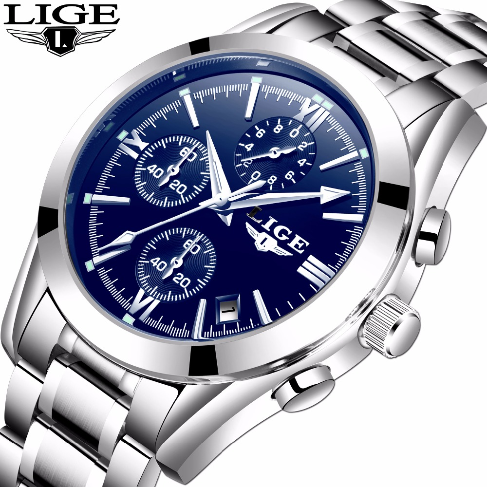 Relogio Masculion LIGE Men Top Luxury Brand Military Sport Watches Men's Quartz Clock Male waterproof Casual Business Man Watch