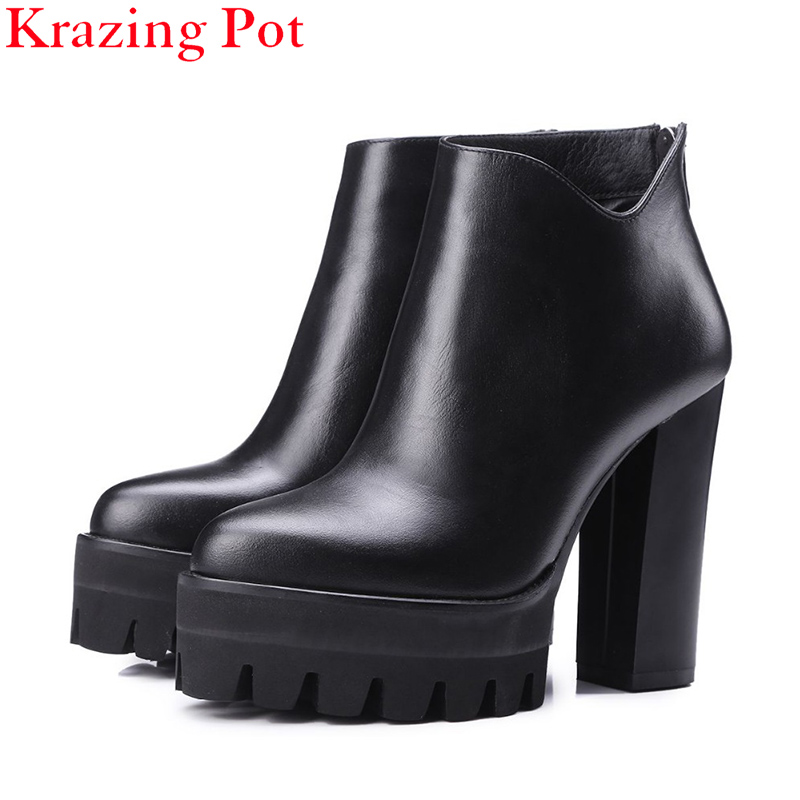 2018 Genuine Leather Platform Brand Shoes Increased Thick Extreme High Heel Women Ankle Boots Solid Classic Zip Chelsea Boots L fashion square toe zip genuine leather solid nude women ankle boots thick heel brand women shoes ladies autumn short boots