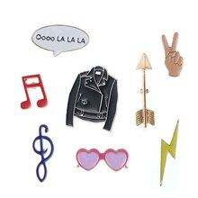 1 pcs cartoon glasses arrow flash metal brooch button pins denim jacket pin decoration badge for clothes lapel pins