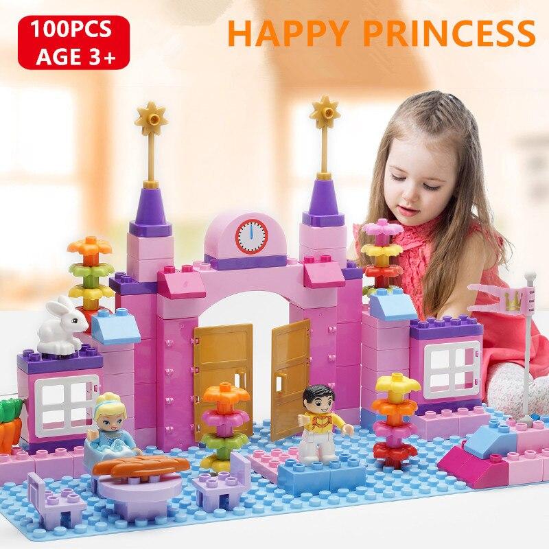 100Pcs Happy Princess Pink Castle Building Blocks Sets Romantic Happy life Girl friends Toys Compatible LegoINGLs Duplo Bricks