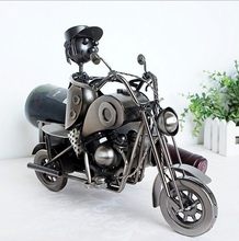 Precioso Diseño de Motocicleta Clásica Titular de Almacenamiento de Botellas de Vino Botella de Vino Artesanías de Hierro de Color Plata Organizador