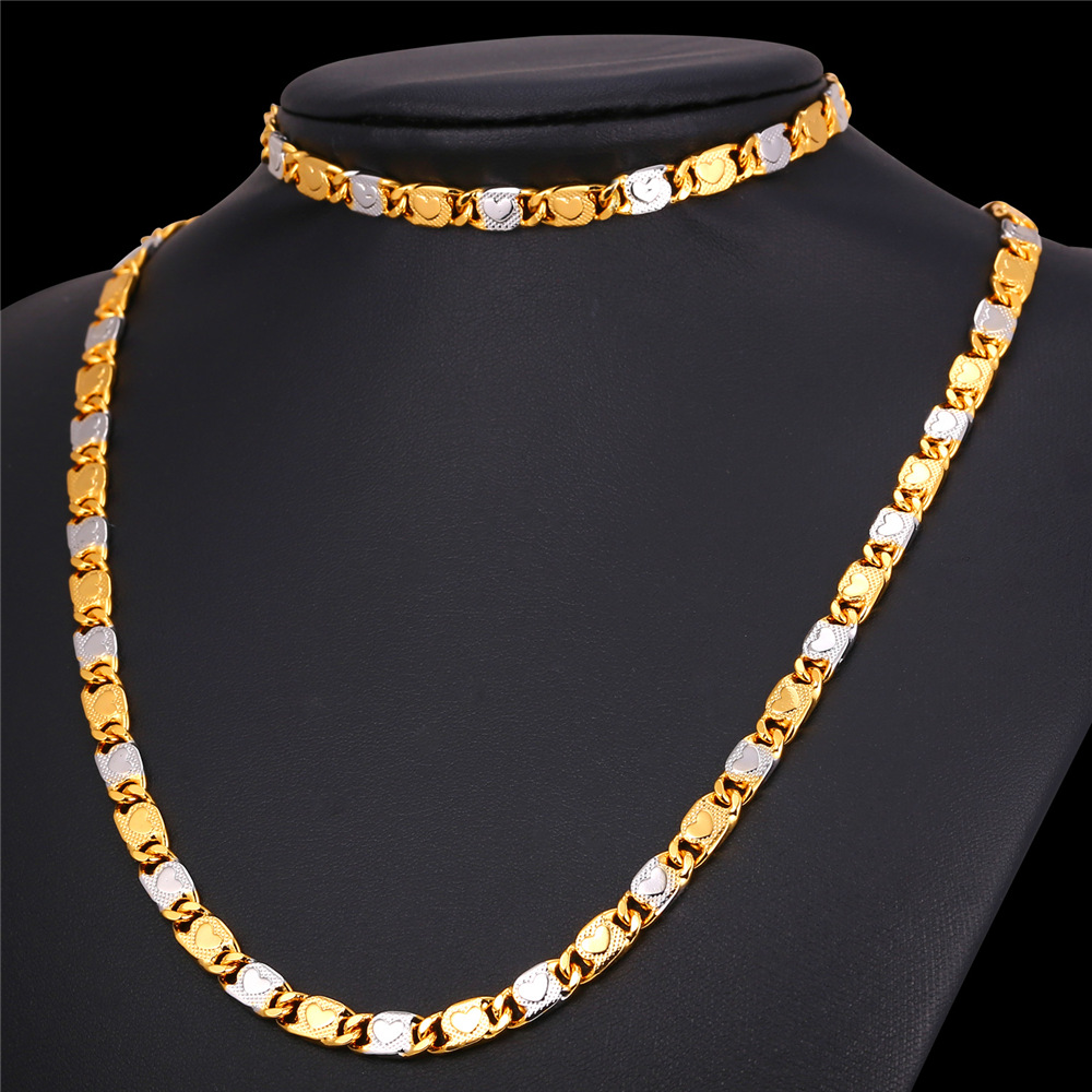 U7 new two tone gold color chain set for men party heart for Cheap gold jewelry near me
