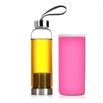 550ml Universal BPA Free High Temperature Resistant Glass Sport Water Bottle With Tea Filter Infuser Bottle Jug Protective Bag 2