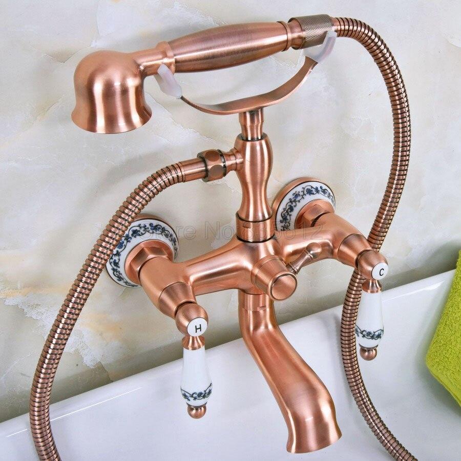 Antyczne czerwonej miedzi do montażu na ścianie wanna kran wannowy s łazienka prysznic kran Clawfoot kran wannowy W/ręcznie spryskiwacz prysznicowy Mixer Tap tna331