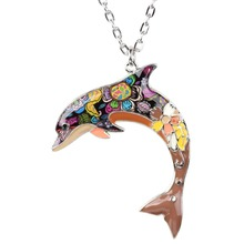 WEVENI Statement Maxi Enamel Alloy Dolphin Necklace&Pendants Collar Fashion Accessories Genuine Ocean Animal Jewelry For Women