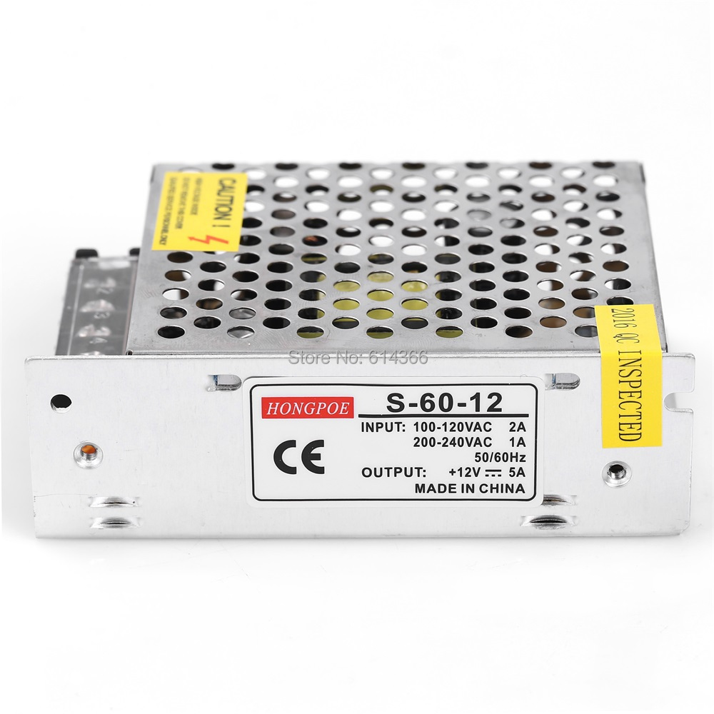 1PCS 60W 12V 5A power supply AC to DC power suply 12V 60w power supply 100-240VAC 111*78*36mm meanwell 12v 350w ul certificated nes series switching power supply 85 264v ac to 12v dc