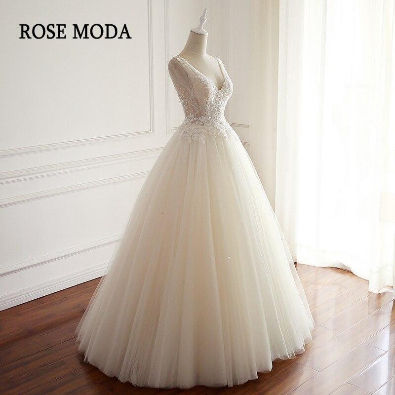 Розовое шикарное свадебное платье с глубоким v образным вырезом, кружевные свадебные платья с кристаллами и низким v образным вырезом на шну