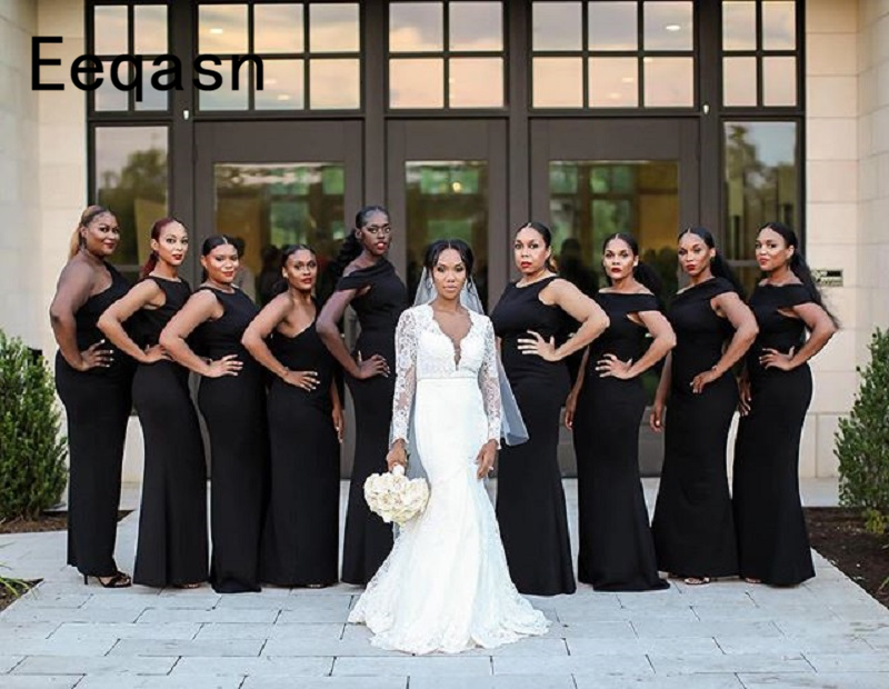 Sexy Black Bridesmaid Dresses 2019 Wholesale Satin Long Mermaid Maid Of Honor Dress For Women African Wedding Party Gowns