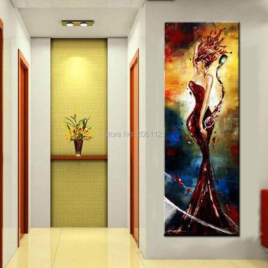 Handpainted Oringinal Bar Porch Office Decorations Oil Painting Elegant Wine Lady Ideas Pop Modern Y Vertical