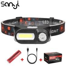 SANYI 3800LM LED פנס 7 מצבי פנס USB נטענת 18650 סוללה פנס מצח לקמפינג ציד זרוק חינם