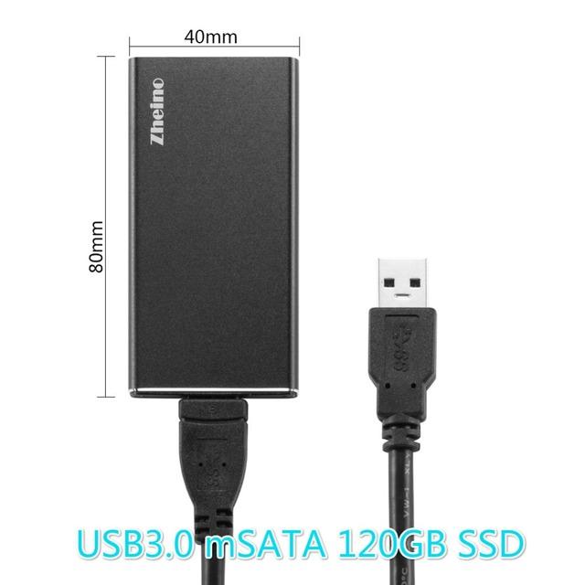 Zheino P3 Caixa De Alumínio Super Speed USB3.0 Externo Portátil de 120 GB SSD com mSATA e mSATA SSD mSATA Solid State Drive para Hlaf