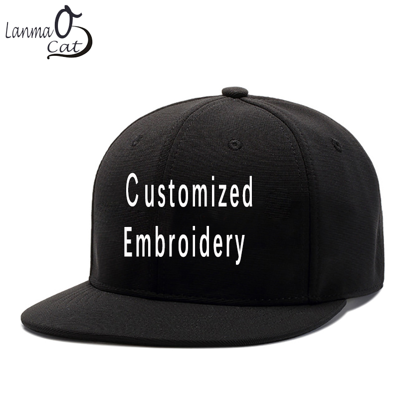 Lanmaocat Embroidery Hip Hop Cap Custom 3D Logo Embroidered Snapback Caps DIY Men Women Customized Snapback Hat Free Shipping unisex men women m embroidery snapback hats hip hop adjustable baseball cap hat