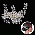 Pearl Crystal Flower Leaf Bridal Hair Comb Tiaras Crowns Bridal Headpiece Hair Jewelry Wedding Hair Accessories For Women Noiva