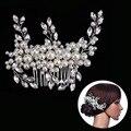 Pearl Crystal Flower Leaf Bridal Hair Comb Tiaras Crowns Bridal Headpiece Hair Jewelry Wedding Hair Accessories For Women Noiva