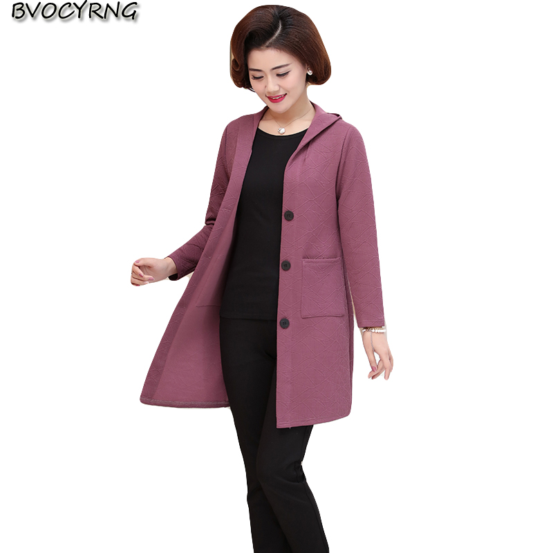 2018 Middle-aged Womens Windbreaker Coat Female Spring and Autumn Clothing Jacket Hooded Big Size LeisureLadiesOuterwear A0506
