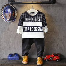 boys long-sleeved T-shirt  sweater hedging long-sleeved spell color plaid t-shirt of 2016 autumn hot sale
