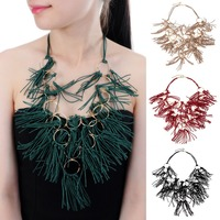 JEROLLIN Ethnic Brown Red Blue Black Color Hemp Rope Chain Gold Color Pandent Statement Bib Necklace