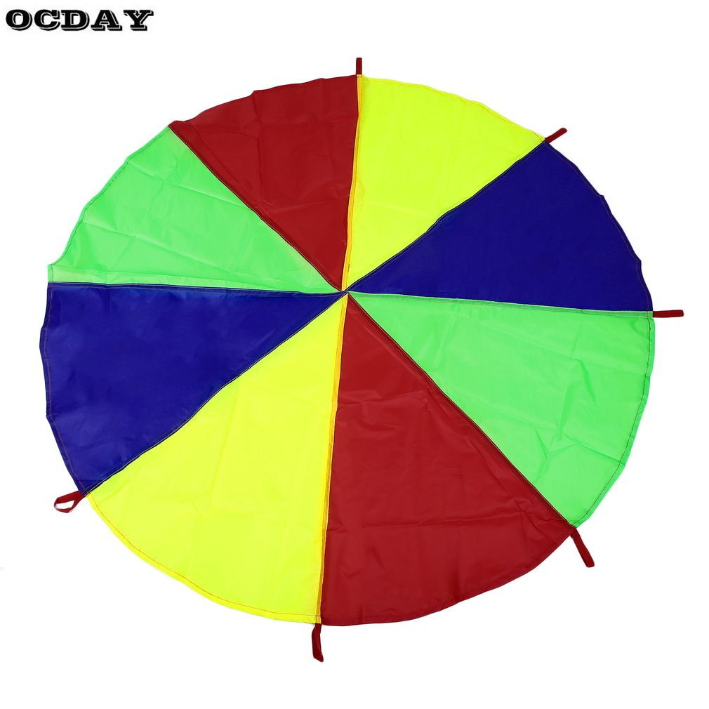 OCDAY Toy Tent Kids Children Play Rainbow Parachute 8 Handles Outdoor Fun&Sports Game Exercise Sport Toy For Childhood Children
