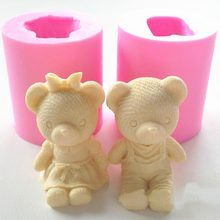 Cute Bear Boy Girl Silicone Soap Mold Fondant Cake Decorating Tools Sugarcraft Cake Chocolate Mold Gum Paste Candle Moulds(China)