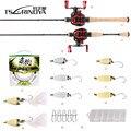 TSURINOYA Рыболовная катушка для рыбалки  комбинированная катушка для рыбалки  1 89 м  UL  литая Удочка + 100 м полиэтиленовая леска + приманка-ложка + ...