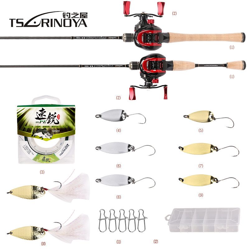 TSURINOYA Fishing Combo XF-50 Baitcasting Fishing Reel 1.89m UL Casting Rod+100m PE Line+Spoon Bait+Box Fishing Tackle Pesca