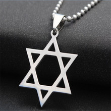 new simple stainless steel hexagram pendant necklaces for men silver color sweater necklaces pendants for women fashion jewelry