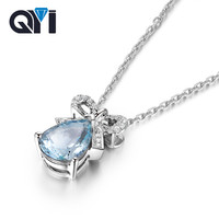 QYI 925 Sterling Silver Natural Gemstone Necklaces Pendants 3 ct Pear cut Natural sky Blue Topaz Pendants For Women