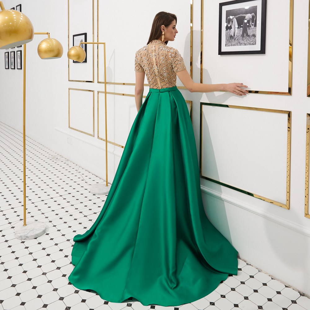 CEEWHY Short Sleeve Luxury Evening Dress Arabic Evening Gowns Dresses  Beaded Prom Dresses 2019 Formal Party Satin Dress Galajurk-in Evening  Dresses from ... aa355431590a