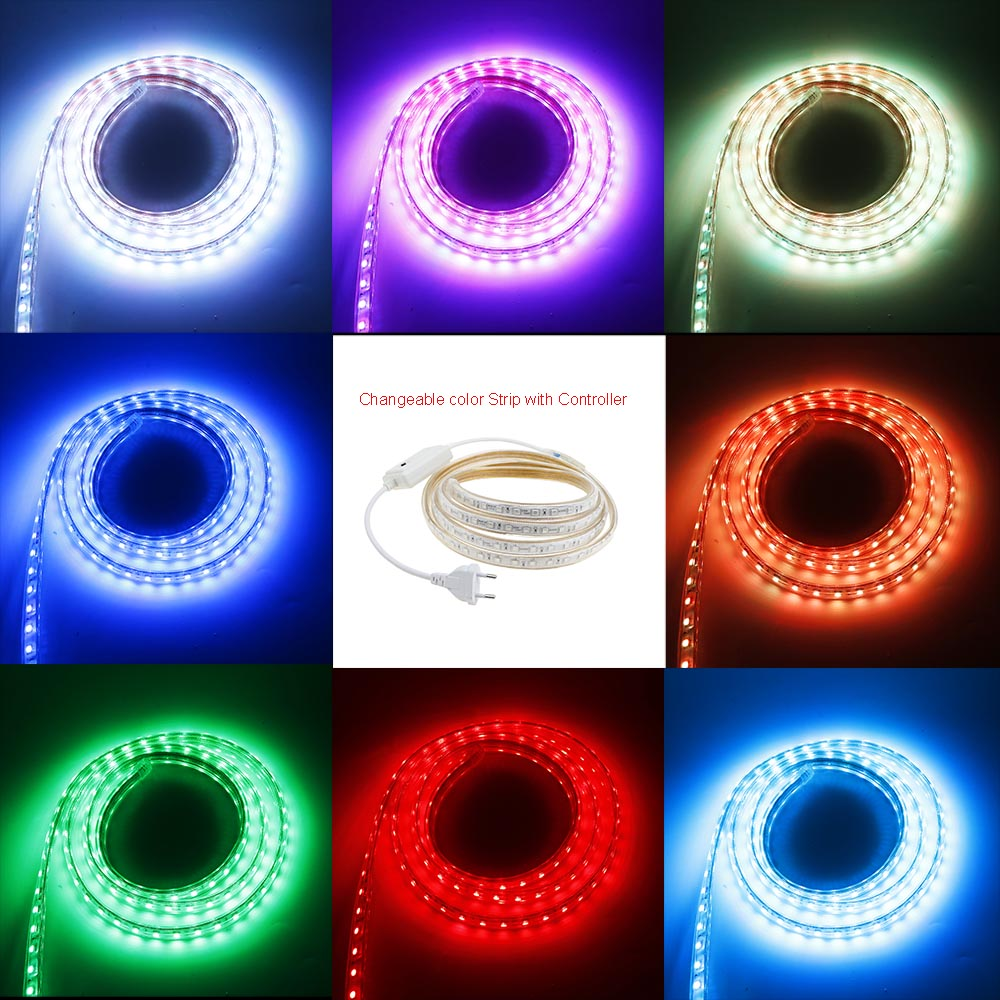 AC220V Led strip SMD 5050 chip 3M/4M/5M/6M/7M/8M/9M/10M/15M/20M/25M with EU Plug 60leds/m Waterproof chrismas led light IL ...