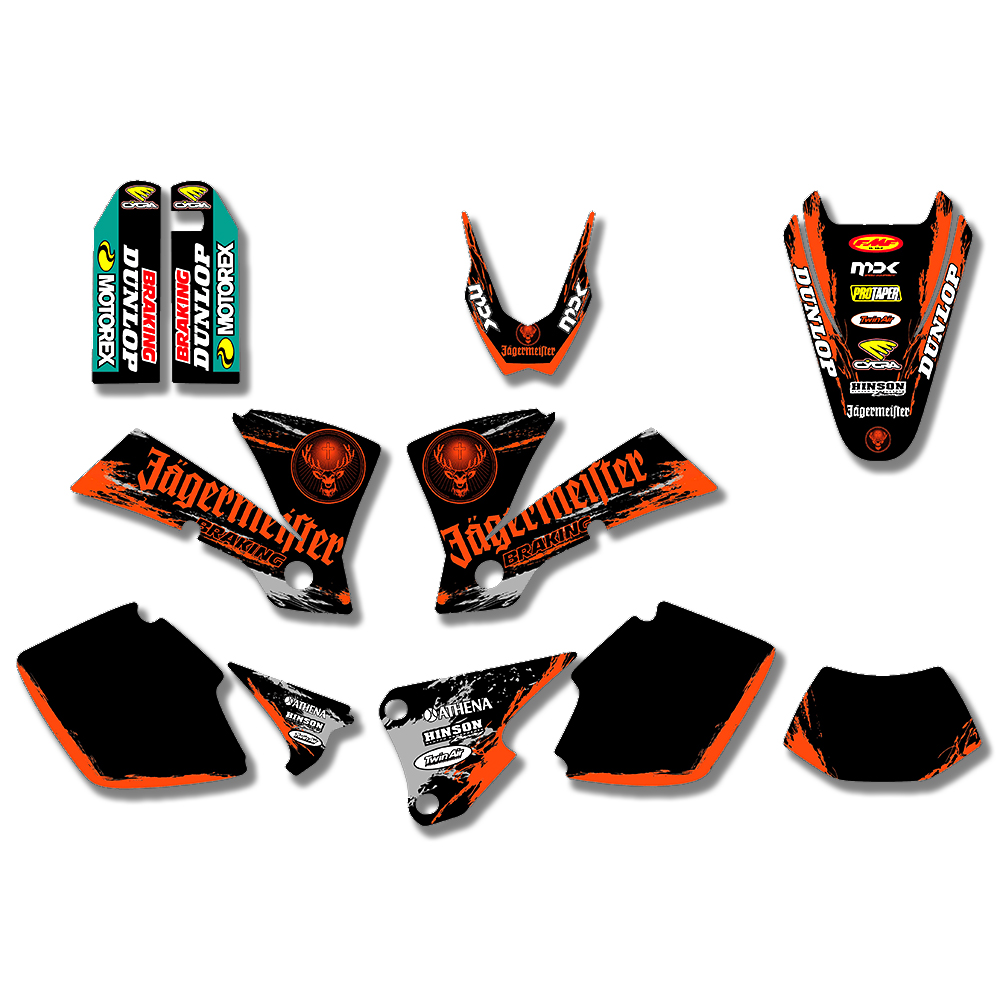 MOTORCYCLE TEAM GRAPHICS BACKGROUNDS DECALS STICKERS FOR KTM EXC 125 200 250 300 400 450 525