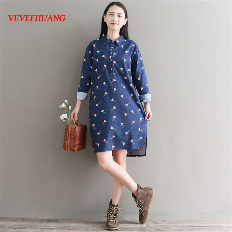 Mori Girl Spring Autumn Women Irregular Dress Turn Down Collar Print Cotton Vestidos Femininos Full Sleeve Casual Vintage Tunic