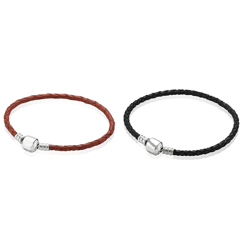 2 Color 925 Sterling Silver Leather Rope Basic Bracelet For Women Clasp Clip Fit Charms Beads & Pendants For Women
