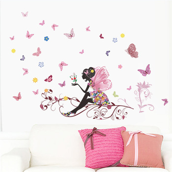 Flower Fairy pink colorful tree branch butterfly wall sticker – Free Shipping fairy decals For Kids Rooms