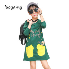 luoyamy Girls Printed Pocket Dress Autumn Kids School Graduation Gowns  Children Clothing Baby Green White Cotton cc65a8e84790