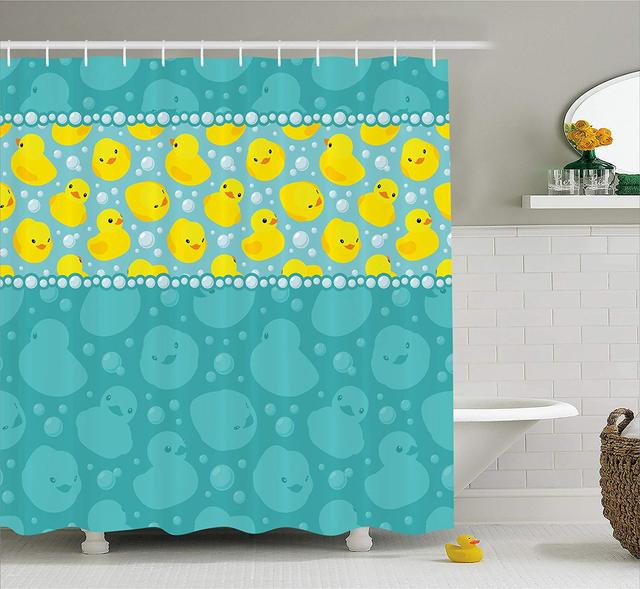 Rubber Duck Shower Curtain Cute Yellow Cartoon Duckies Swimming In Water Pattern With Fun Bubbles Aqua Colors Fabric Bathroom