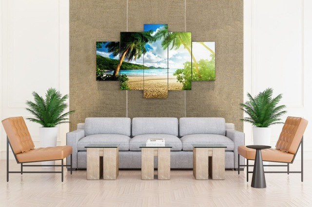 Beach Palm Tree Group Painting Childrens Room Decor Print Poster