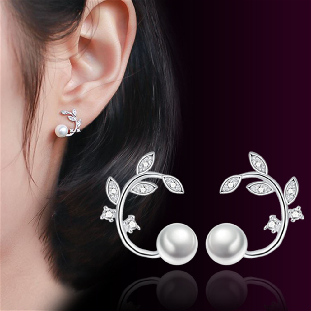 New fresh flowers pearl high-grade zircon earrings simple branches Stud Earrings jewelry ladies temperament fashion OL jewelry