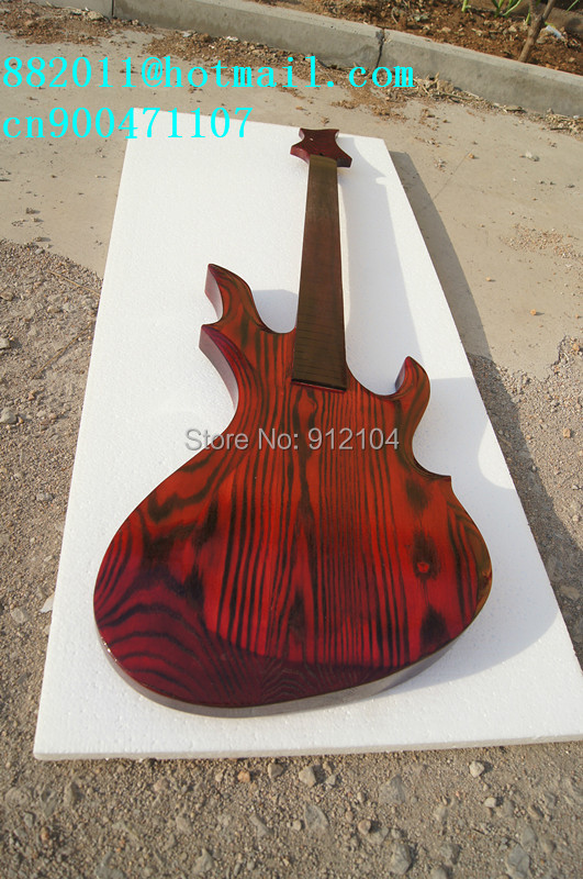new unfinished electric  guitar in red with elm body and neck made in China+ free shipping F-1982 free shipping new hollow electric guitar with mahogany body and chrome hardware in orange for jazz music made in china f 3079