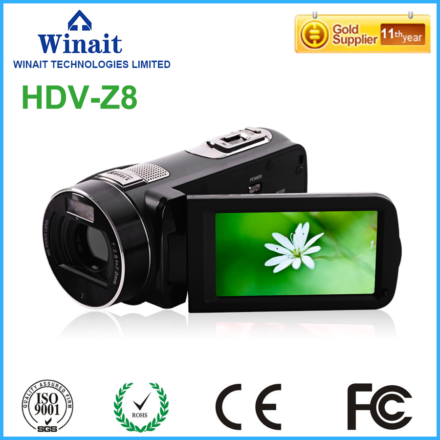 FHD 1080p HDV-Z8 digital video camera multi languages face and smile detetion self-timer anti-shake used pro camcorder digital